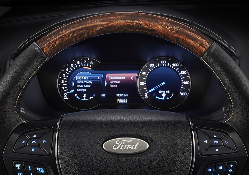 New 2016 Ford Explorer Platinum series with standard heated steering and 10.1-inch all-digital instrument cluster